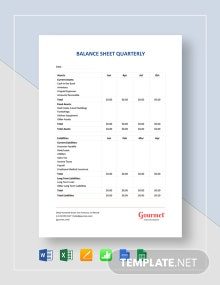 Free Balance Sheet Quarterly Template