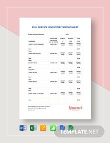 Full Service Restaurant Inventory Spreadsheet Template