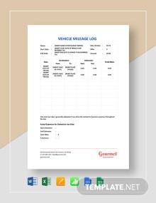 Restaurant Vehicle Mileage Log Template