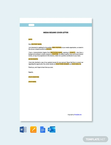 Free Media Resume Cover Letter Template