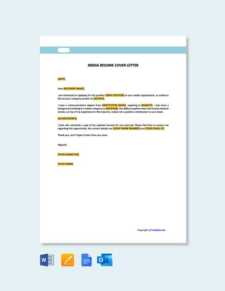 Free Media Resume Cover Letter Template