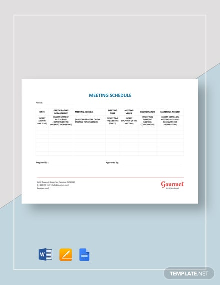 Restaurant Meeting Schedule Template