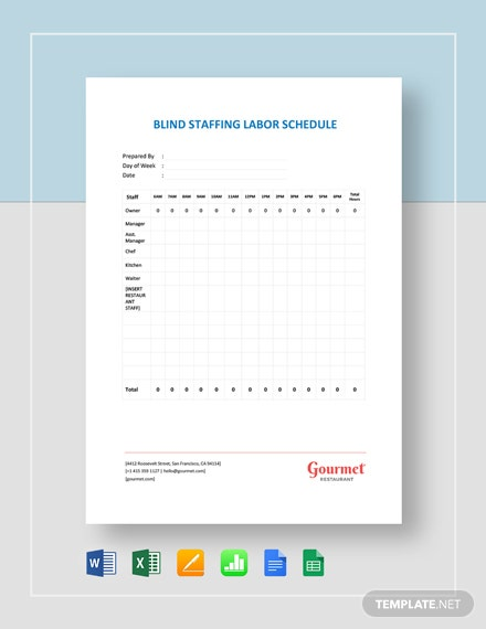 Blind Staffing Labor Schedule Planner Template