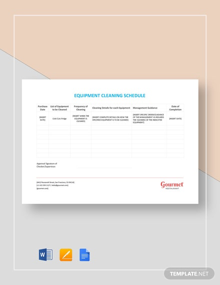 Equipment Cleaning Schedule Template