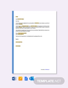 Free One Page Resume Cover Letter Template