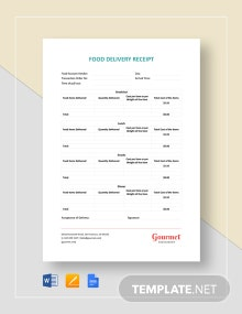 Food Delivery Receipt Template