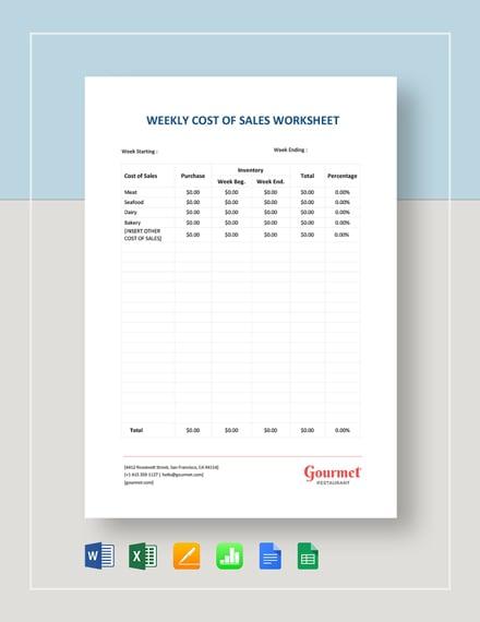 Weekly Cost of Sales Worksheet Template