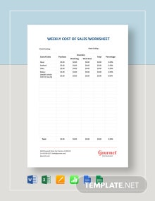 Weekly Cost of Sales Worksheet Template