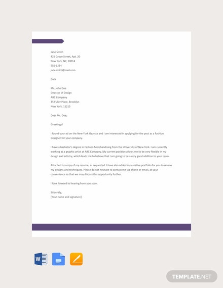 Free Sample Fashion Designer Resume Cover Letter Template