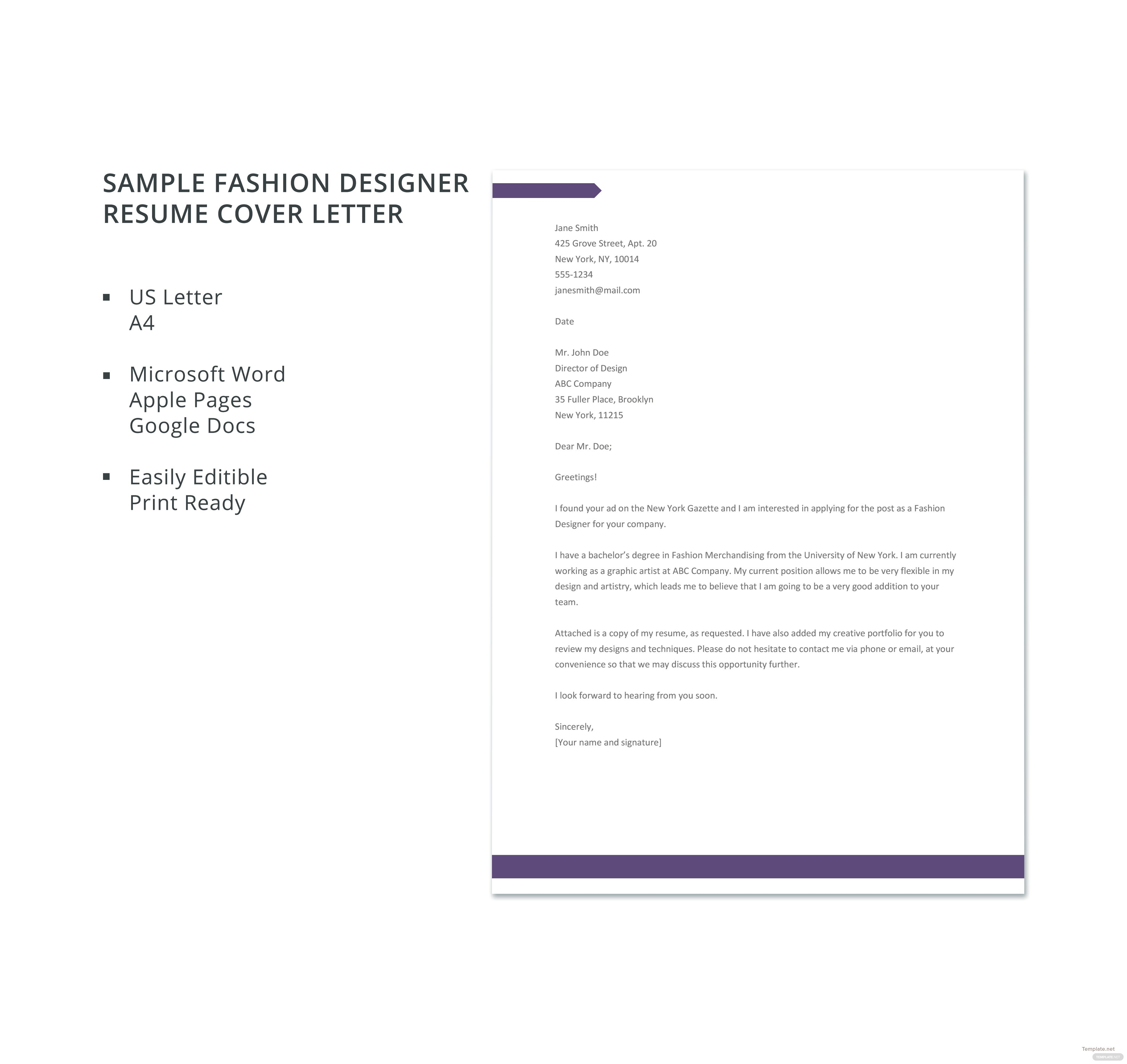 Free sample fashion designer resume cover letter template in sample fashion designer resume cover letter template madrichimfo Gallery