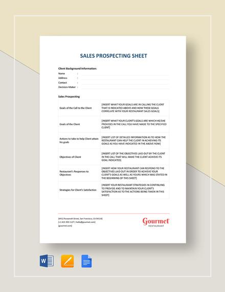 Sales Prospecting Sheet
