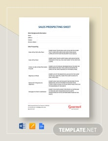 Sales Prospecting Sheet Template