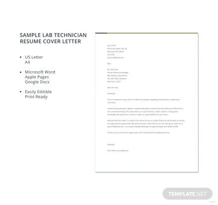 Free Sample Lab Technician Resume Cover Letter Template in Microsoft ...