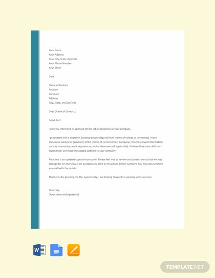 simple resume cover letter templates