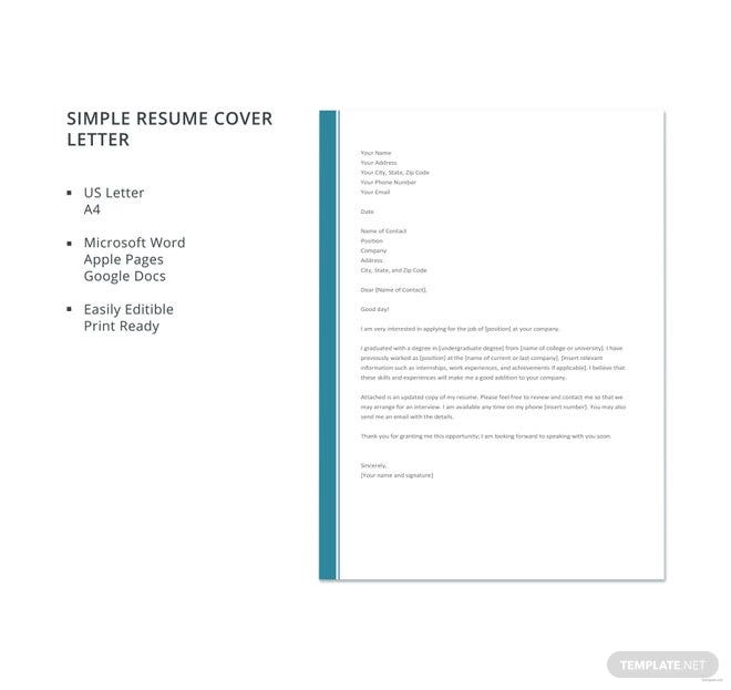 Google Application Cover Letter: Free Simple Resume Cover Letter Template In Microsoft Word