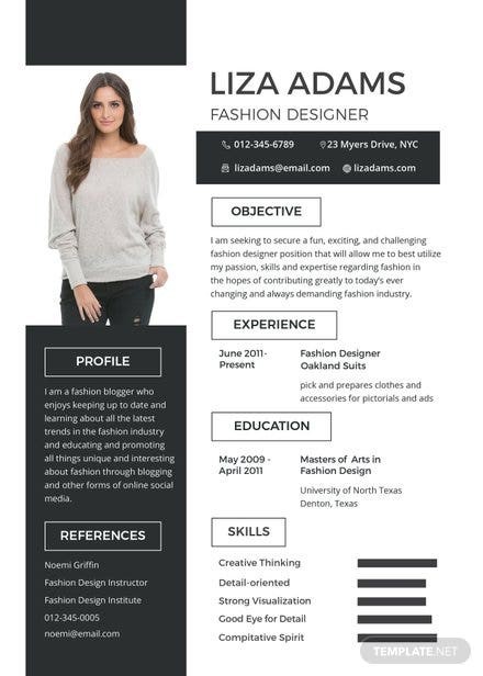 Superior Free Fashion Designer Resume Template