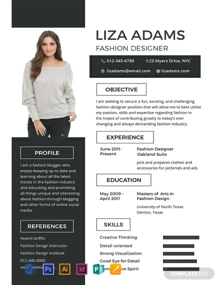 free fashion designer resume and cv template  download 607
