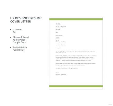 Free UX Designer Resume Cover Letter Template