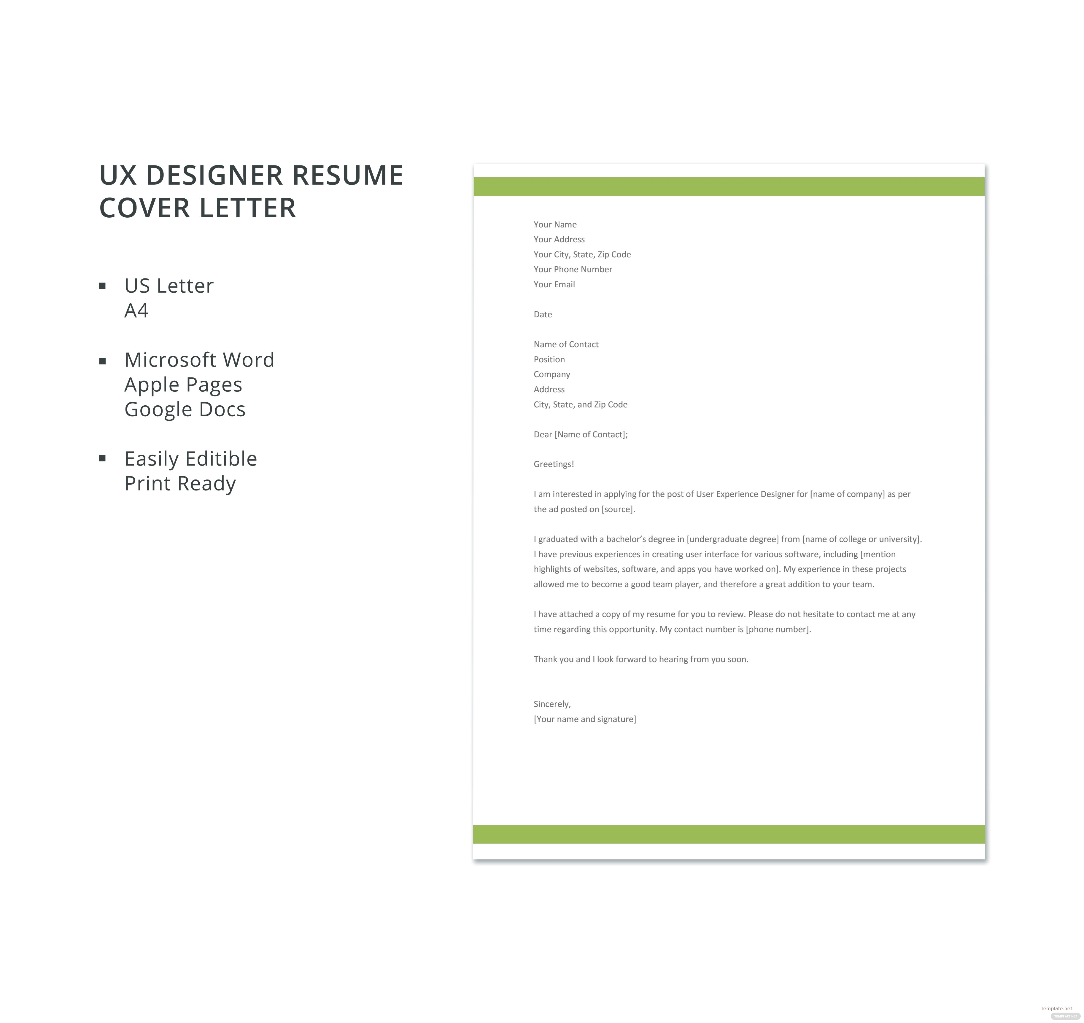 free ux designer resume cover letter template in microsoft