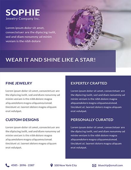 Free Jewelry Store Datasheet Template