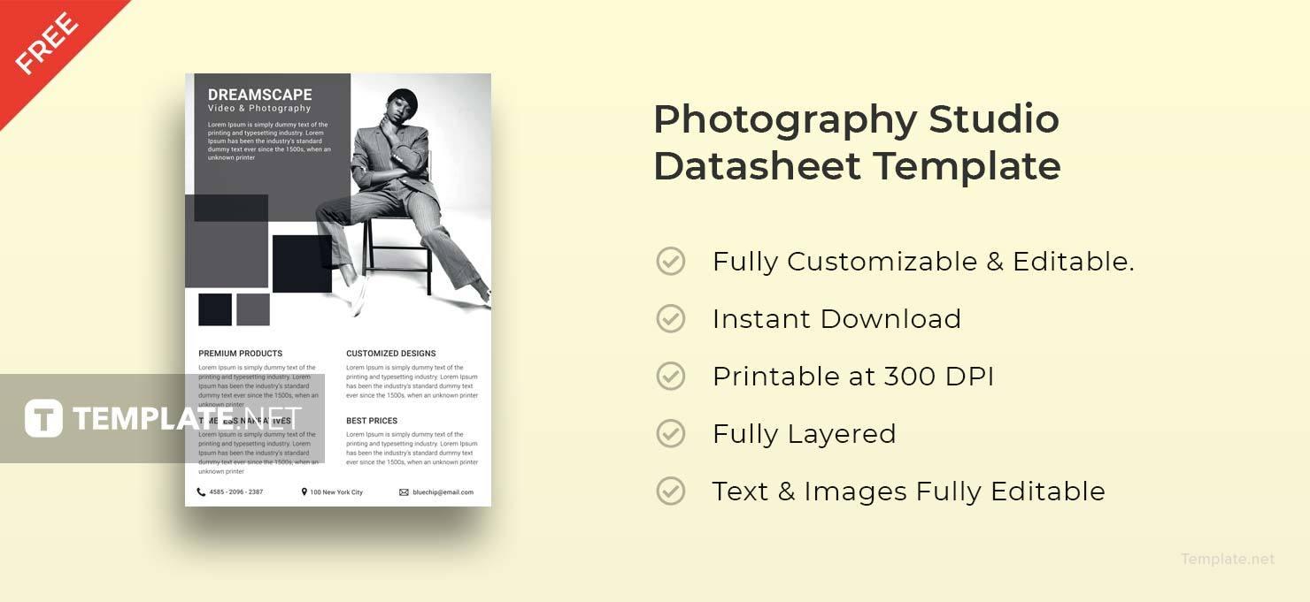 Photography Studio Datasheet Template