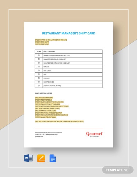 Restaurant Manager's Shift Card Template