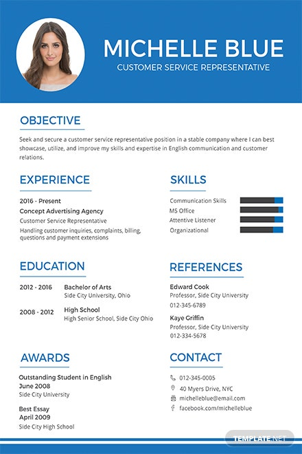 free customer service representative resume and cv template in psd