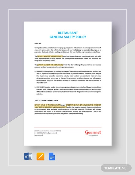 Restaurant General Safety Policy Template