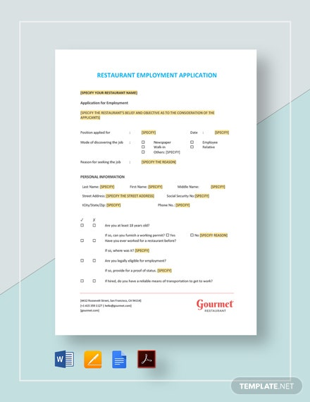 Restaurant Employment Application Template