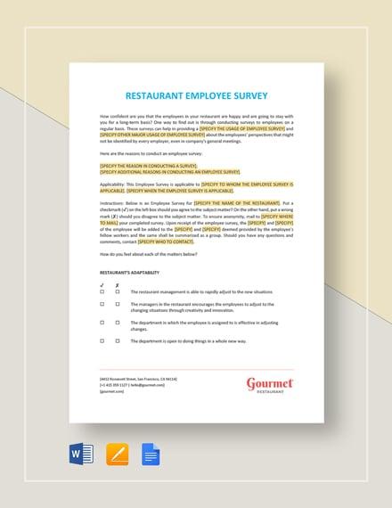 Restaurant Employee Survey Template