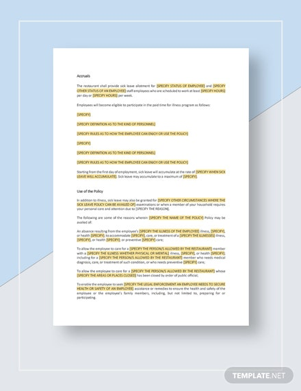 Restaurant Employee Sick Leave Policy Template