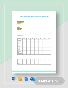 Restaurant Employee Schedule Change Form Template