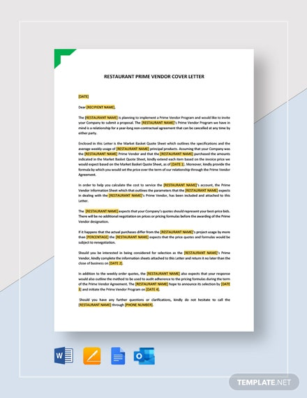 Restaurant Prime Vendor Cover Letter Template