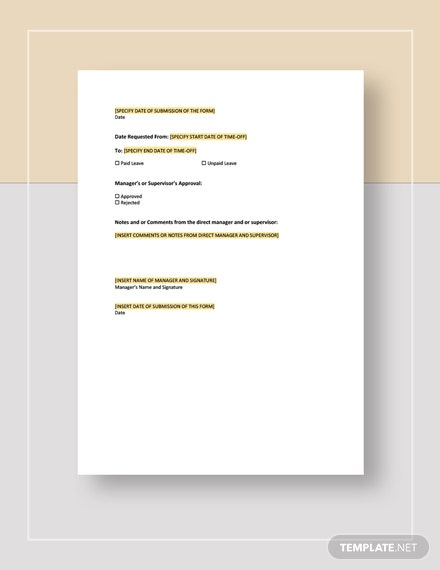 Employee TimeOff Request Form Template