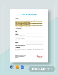 Peer Review Form Template