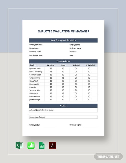 Employee Evaluation of Manager Template