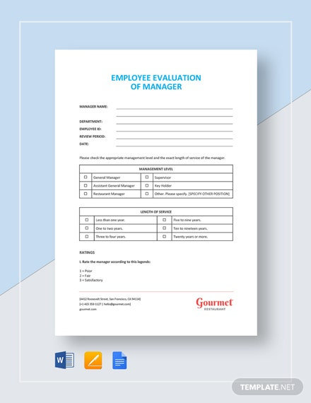 employee evaluation of manager template template  download