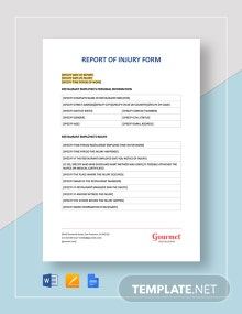 Report of Injury Form Template