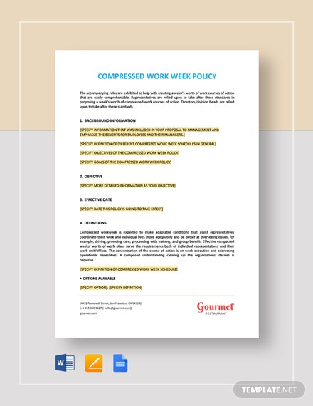 Compressed Work Week Policy Template