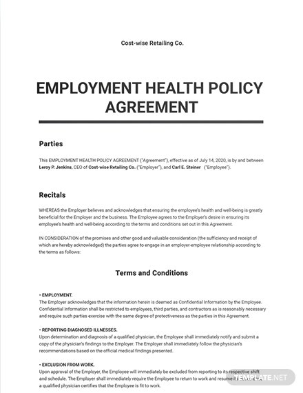 Employee Health Policy Agreement Template