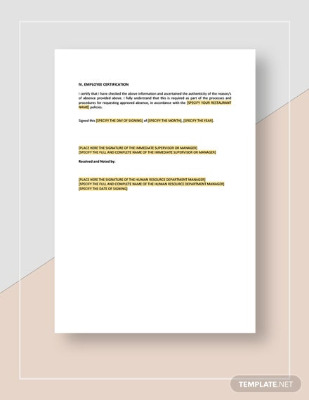 Employee Absence Form Download