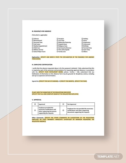 Employee Absence Form Template