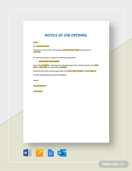 Notice of Job Opening Form Template