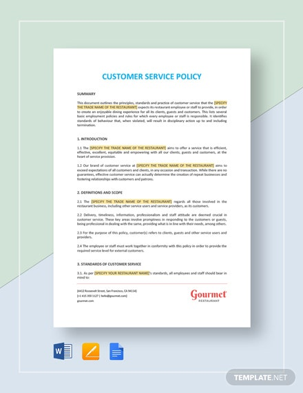 Customer Service Policy Template