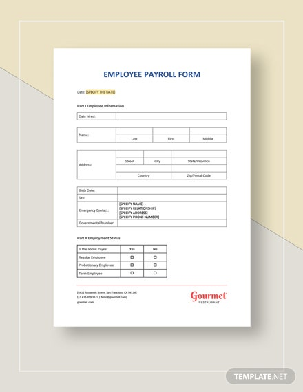 Employee Payroll Form Template