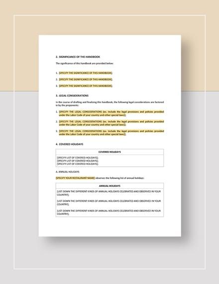 Restaurant Holiday Handbook Template