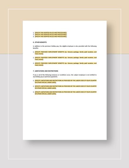 Sample Restaurant Holiday Handbook