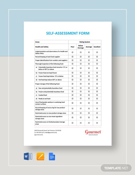 Self-Assessment Form Template