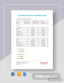 Restaurant Weekly Planning  Guide Template