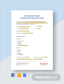 Restaurant Name Reservation Request Form Template